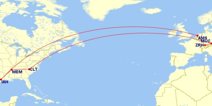 Flights for this route. Map courtesy of gcmap.com
