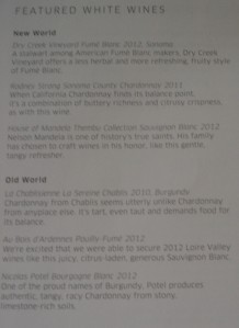 United 58 Featured White Wines