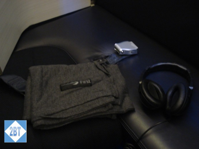 BA 196 First Class Blanket and Headphones