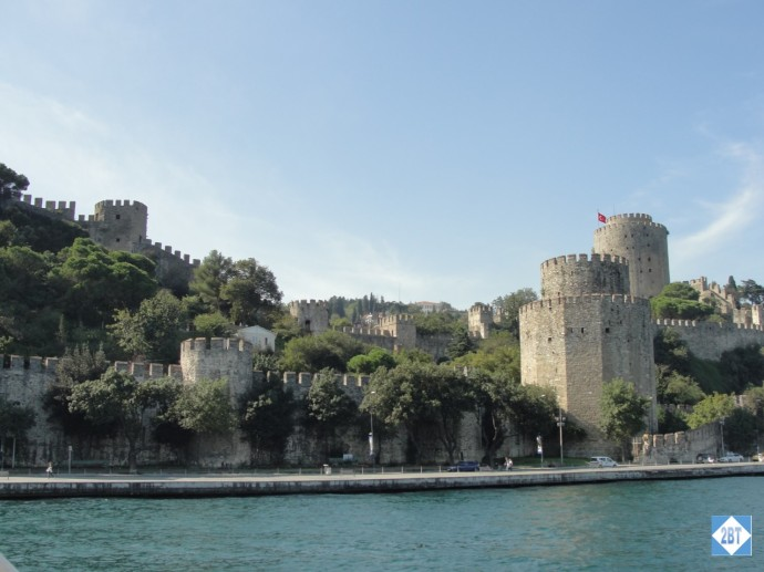 Remains of fortress walls as viewed from the Bosphorus