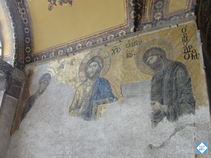 Mural inside Hagia Sophia. While the building was a mosque, murals like this had plaster put over them.