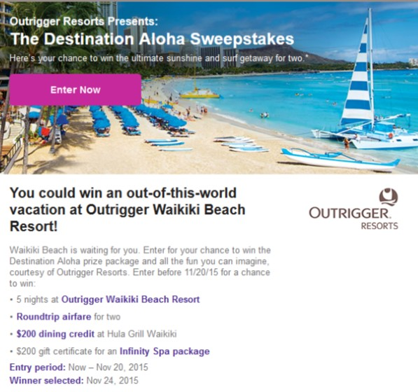 2015-11-15 Destination Aloha Sweepstakes