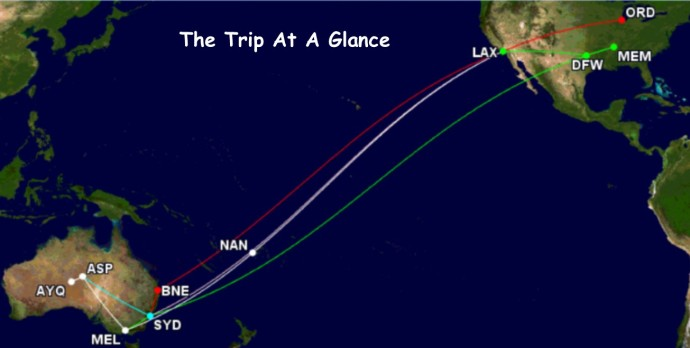 The various routings for our trip. Map made on gcmap.com