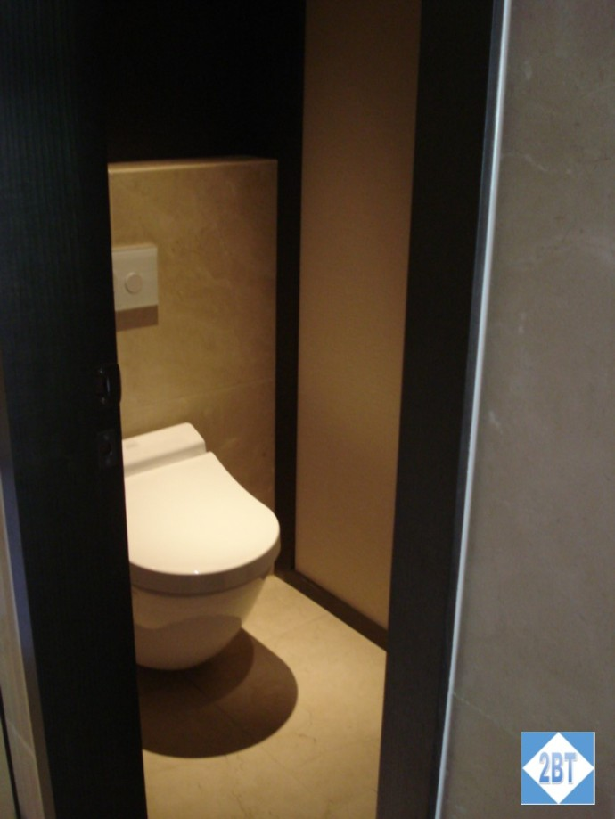 Room with the heated toilet seat