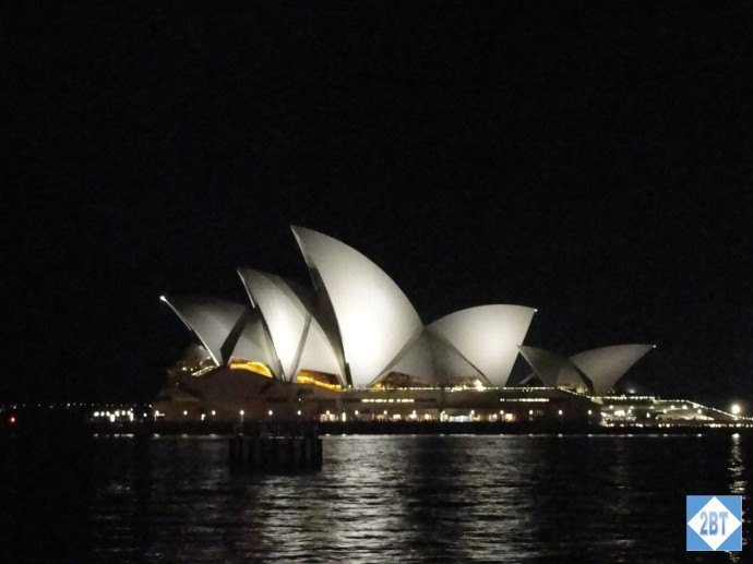 The Opera House in profile at night