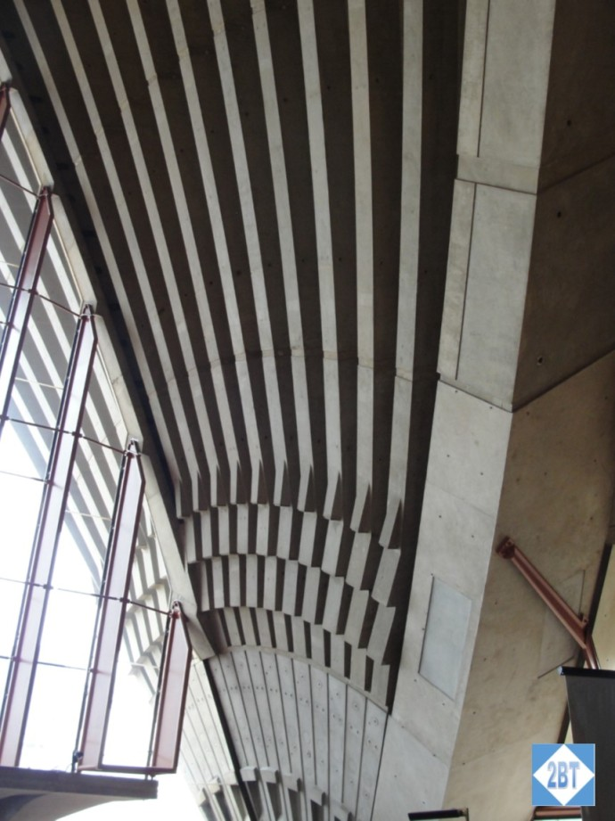 The underside of the concrete shells that make up the roof