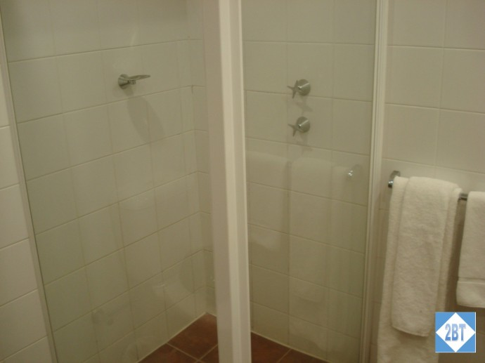 The shower stall was a little tight and some shelving would have been nice but the water worked just fine