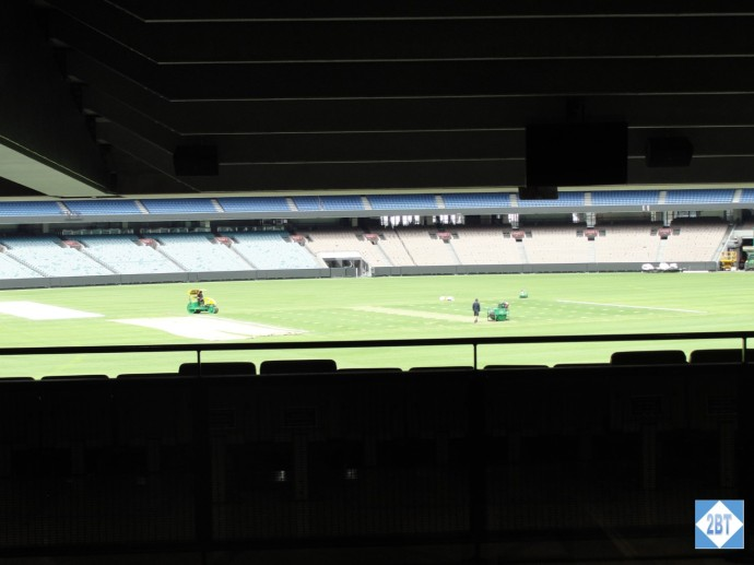 The pitch at Melbourne Cricket Ground as viewed from inside the gift shop
