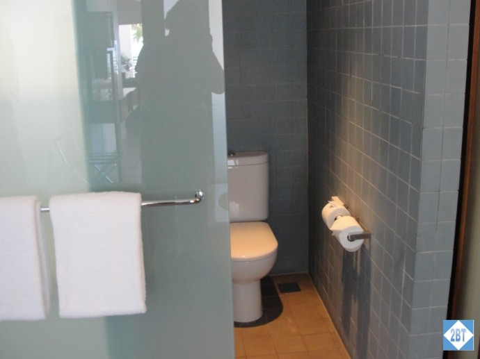 Toilet in master bath. Sliding door covers either the toilet or the shower but not both at the same time!