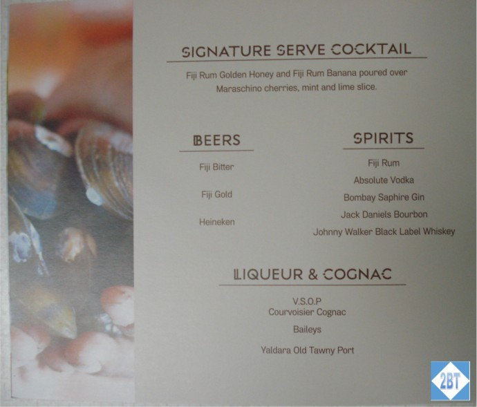 Fiji Airways Business Class Alcohol Menu