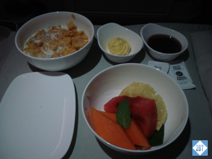 Fiji Airways Business Class Cereal and Fresh Fruit