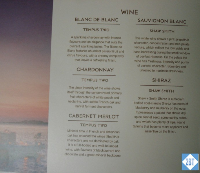 Fiji Airways Business Class Wine List
