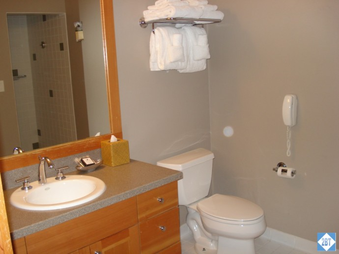The bathroom in the 2Q room has the vanity with lots of storage. The shower is opposite the vanity,