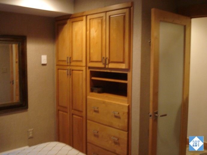 Bedroom cabinetry built right into the wall