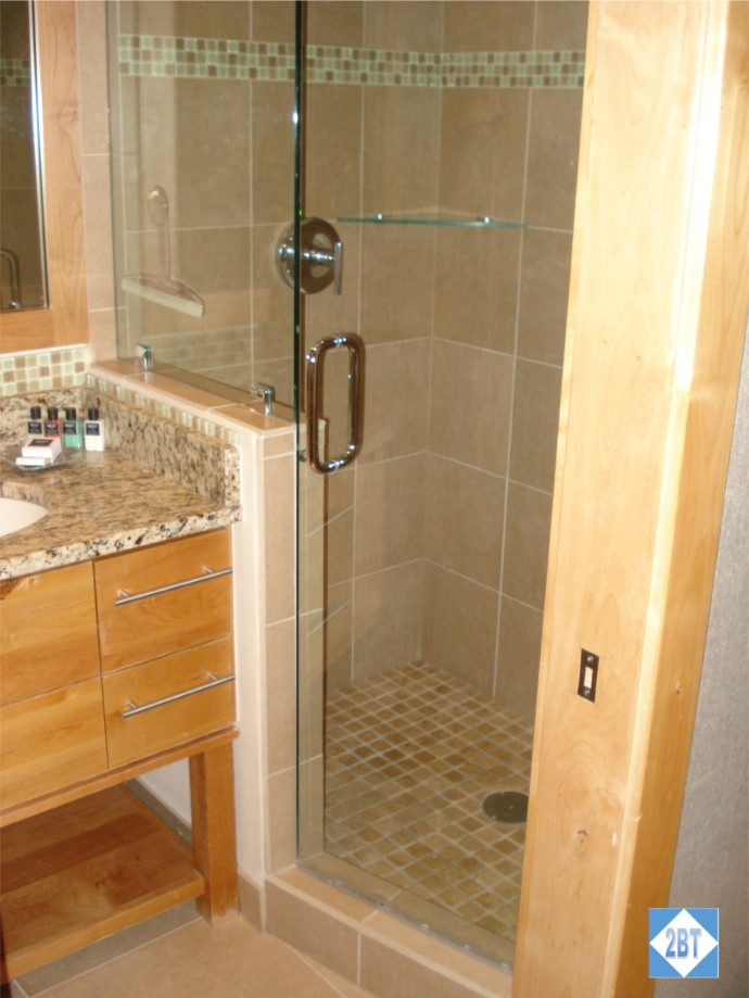 Shower on one side of the master bathroom