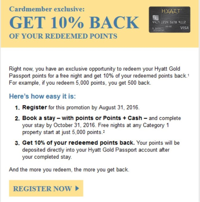 2016-07-11 Hyatt Points Back Promo