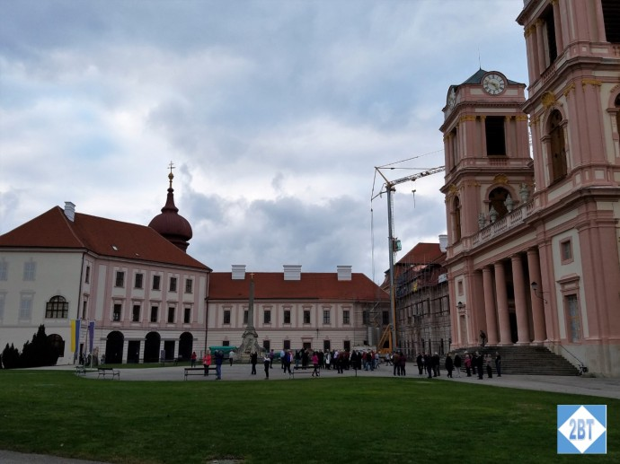 Göttweig Abbey grounds with the church on the right and the building with the famous ceiling on the left