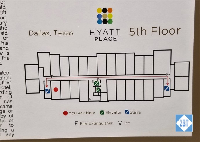 Location of Room 504 at the Hyatt Place DFW