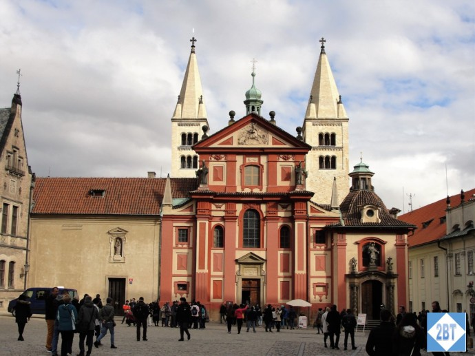 St. George's Basilica, the oldest surviving church within the palace walls. In Baroque style it dates to the late 17th century.