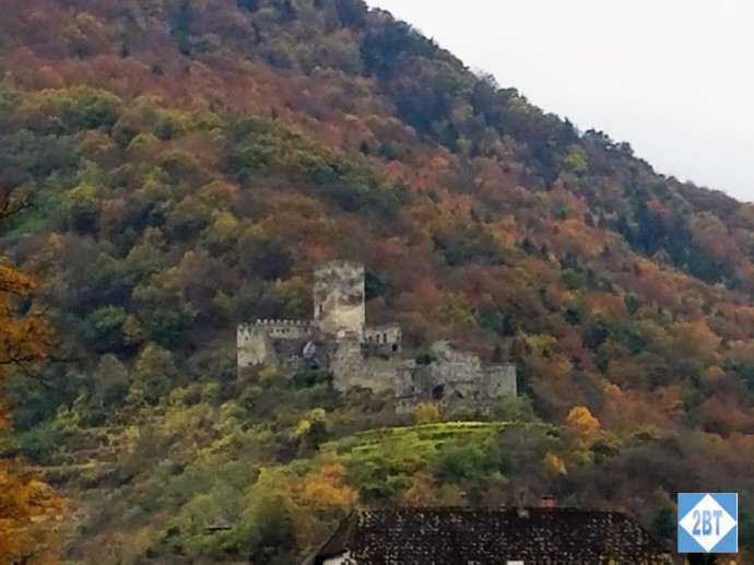 Ruins of a castle overlooks the Danube River in the Wachau Valley