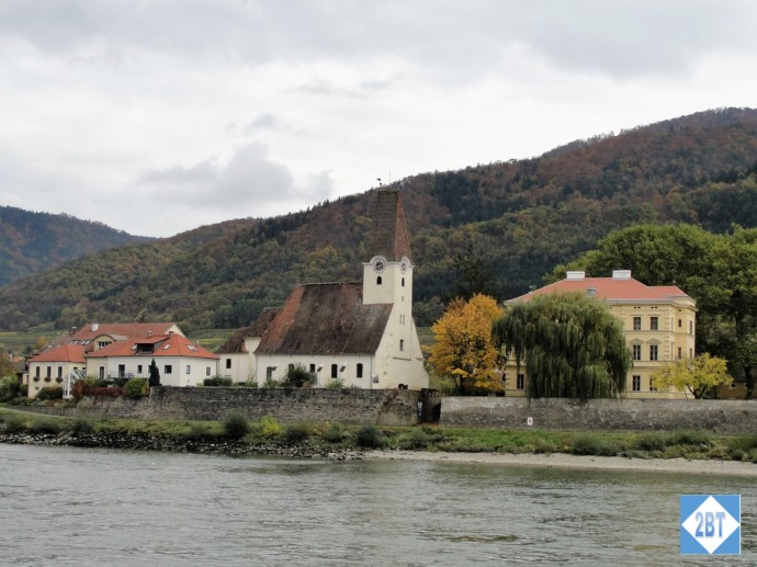 Scenic church on the banks of the Danube in the Wachau Valley