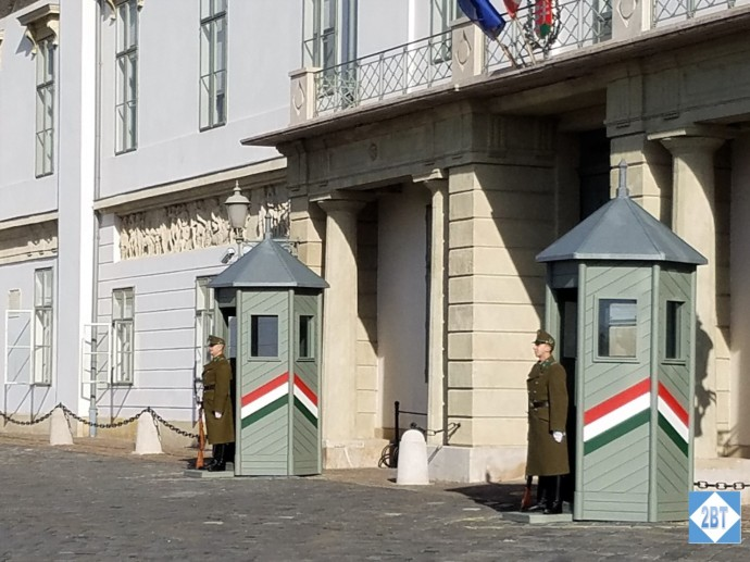 Guards outside Buda Castle - though not the museum portion.