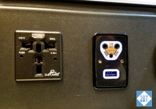 SAS Business Class power outlet and headphone jack